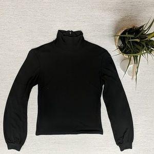 Rayon Blend Mock Neck Long Sleeve- Subtle Puff